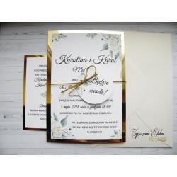 Zaproszenia ślubne złote Marina