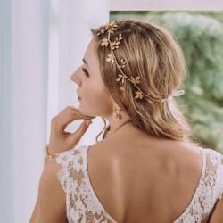 Biżuteryjny wianek ślubny Flora - MIDI gold