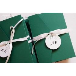 Zaproszenia ślubne kopertowe z kolorze butelkowej zieleni