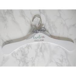 MONAKO Spersonalizowany srebrny wieszak ślubny na suknię