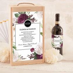 SKRZYNIA na 2 wina prezent dla Pary Młodej Purple Peony