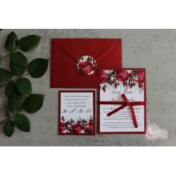 Zaproszenie Ślubne - Peony Burgunde