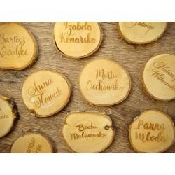 winietki na plastrach drewna brzozowego