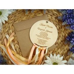 zaproszenie drewniane łapacz snów - koło