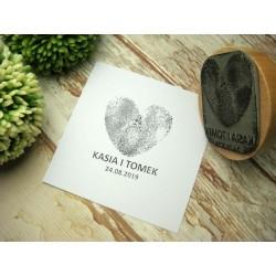 pieczątka z sercem z odcisków palców