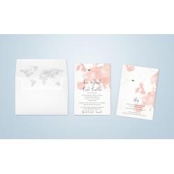 Zaproszenia ślubne z motywem Mapy Świata