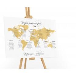 Plan stołów weselnych z Mapą Świata
