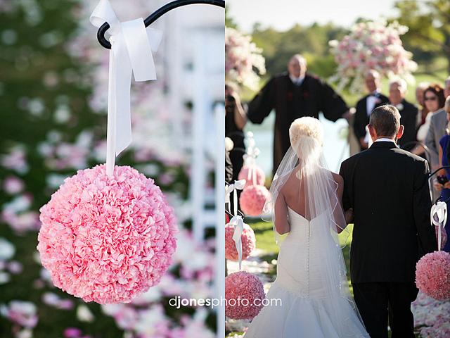 pudrowy roz wesele dekoracje slub