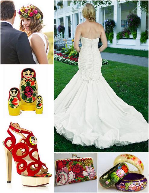 ludowe goralskie wesele czerwone dodatki futerko panna mloda matrioszka