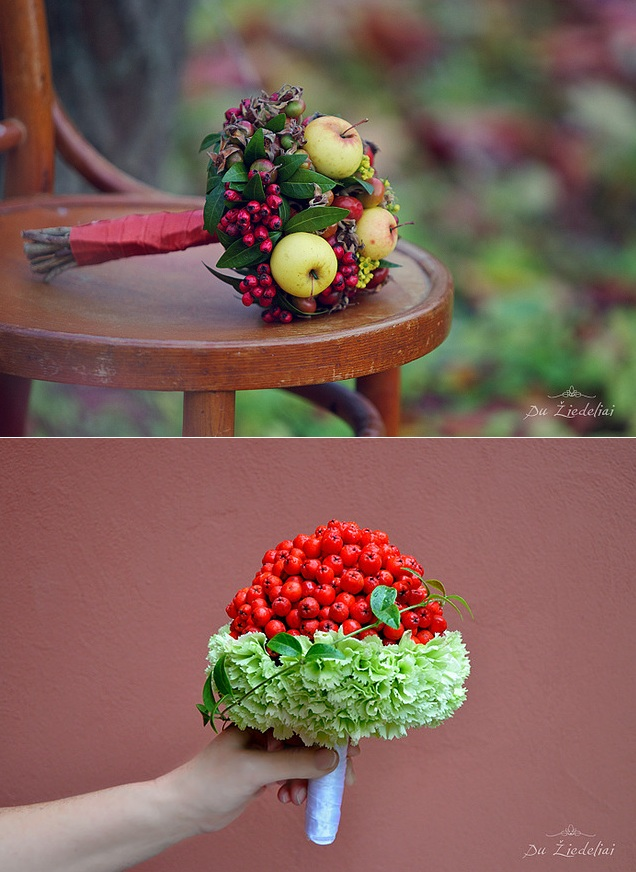 bukiety slubne z owocami ludowe wesele