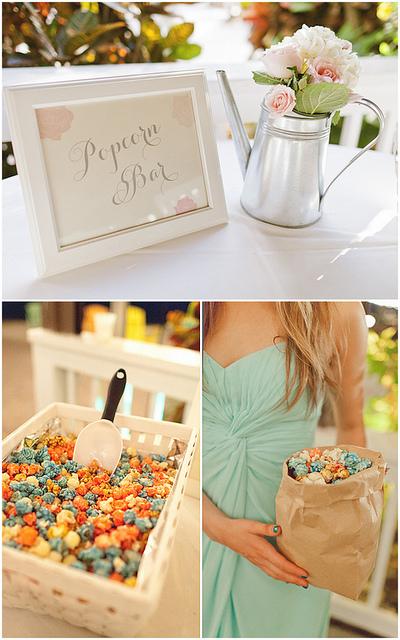 dekoracje weselne popcorn bar pastelowe wesele