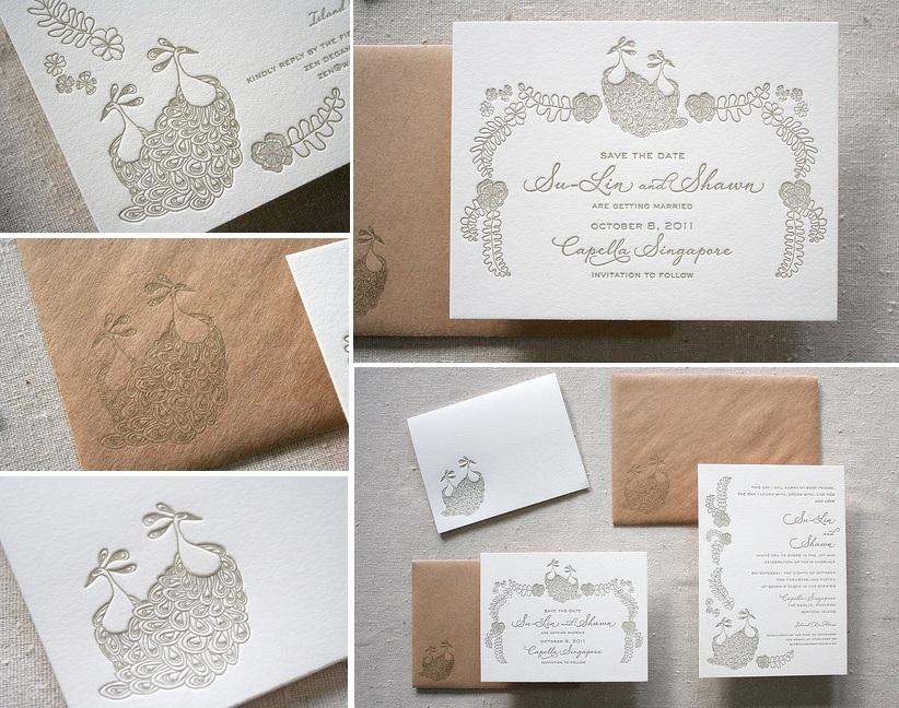 pawie piora paw zaproszenia weselne