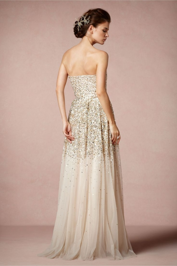 Champaign Dress With Gold Shoes