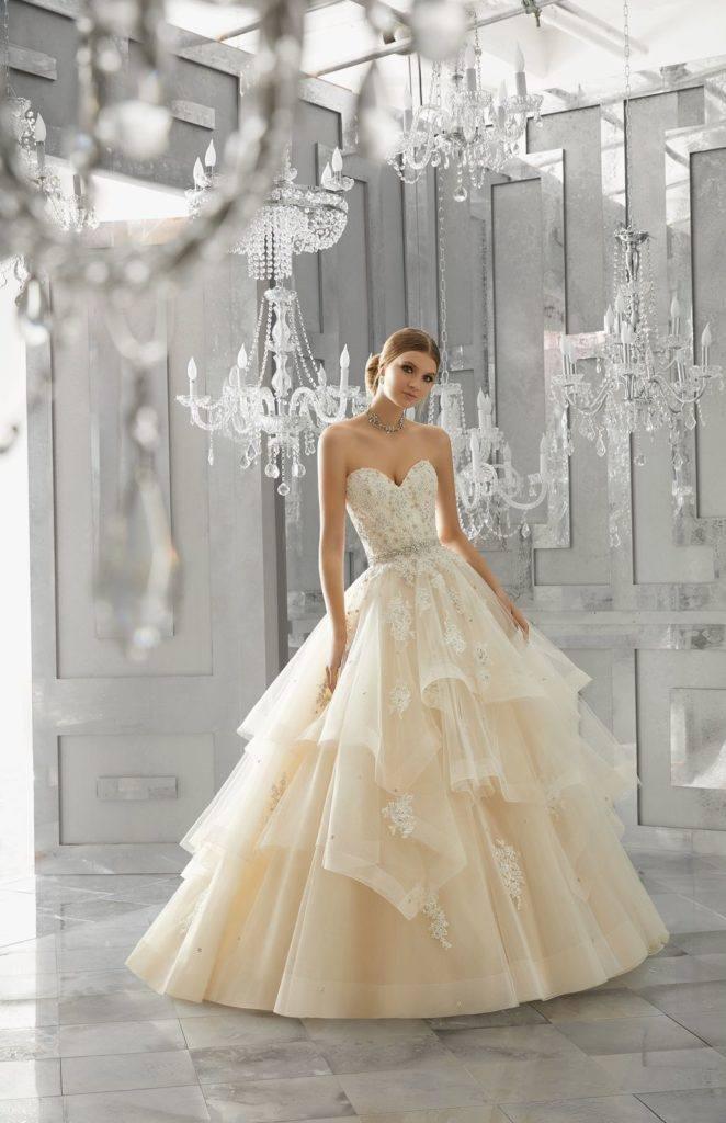 Romantyczna Suknia ślubna Mori Lee Księżniczka Bez Ramiączek ślub