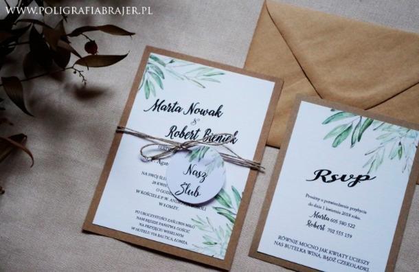 Zaproszenia ślubne Ekologiczne ślub Na Głowie